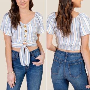 New Francesca's Kim Button Front Crop Top